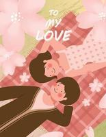 Happy Valentine's day card with cute couple on picnic during romantic date vector illustration