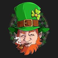 St Patrick Leprechaun face smoking pipe illustration in high quality and shadows, for St Patrick day designs vector