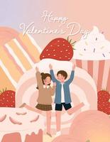 Happy Valentine's day card with cute couple and dessert vector illustration
