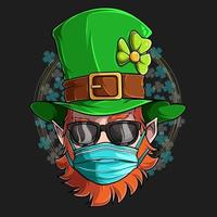 St Patrick Leprechaun face with sunglasses and medical mask, illustration in high quality and shadows, for St Patrick day designs vector