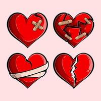 Romantic red broken hearts set, broken stuck shattered, cut out torn and roping hearts vector