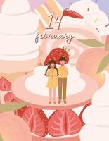 Happy Valentine's day card with cute couple vector illustration
