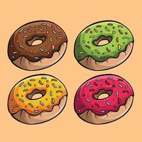 Four yummy donuts with different tastes vector image