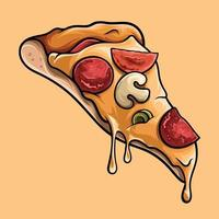 Delicious slice of pizza, illustration in high quality vector