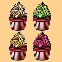 Sweet food creamy cupcakes with different flavors vector image