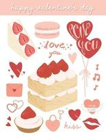 Cute valentine's day elements set Vector