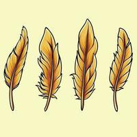 Ilustración del tema de otoño de acción de gracias de plumas de aves, puede usar en sus diseños y dibujos de aves o en el día de acción de gracias. vector