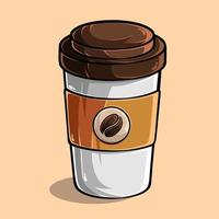 Cup of coffee isolated on colored background, illustrated in high quality, shadows and lights, ready for use in your designs vector