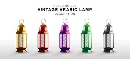 Realistic set of Vintage Arabic Luminous Lamp Decoration. Islamic Hanging Lantern in 5 colors. Isolated Vector Illustration. Lantern 3D Multicolored.