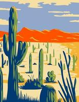 Saguaro National Park with Giant Saguaro Cactus in Sonoran Desert Pima County Arizona WPA Poster Art vector
