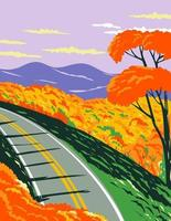 Skyline Drive at the Shenandoah National Park with the Blue Ridge Mountains During Fall in Virginia WPA Poster Art