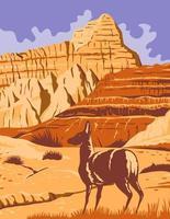 parque nacional badlands en dakota del sur wpa poster art vector