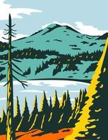 Lassen Volcanic National Park in California WPA Poster Art vector