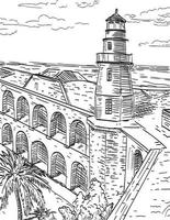 Dry Tortugas National Park Site of Fort Jefferson and Garden Key Lighthouse Florida Woodcut Black and White vector