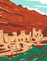 Mesa Verde National Park with Ancestral Puebloan Cliff Dwellings in Colorado WPA Poster Art vector