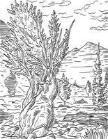 Prometheus Tree and Wheeler Peak in Great Basin National Park Nevada Woodcut Black and White vector