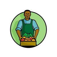 african american green grocer front retro vector