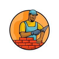African American bricklayer circle retro