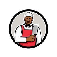Carnicero afroamericano sosteniendo círculo de cuchilla de carne retro