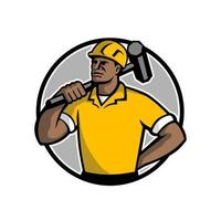 African American construction worker with sledgehammer circle retro