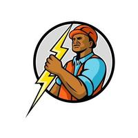 African American electrician holding lightning bolt circle retro