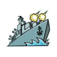 american destroyer warship mascot retro vector