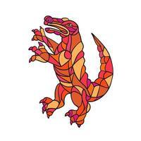 cocodrilo encabritado color mosaico vector