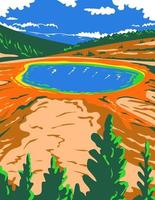 Grand Prismatic Spring in Yellowstone National Park in Teton County Wyoming WPA Poster Art vector