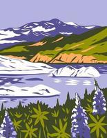 wrangell-st. Parque nacional y reserva elías con altramuces púrpuras en el lago nizina en alaska wpa poster art vector