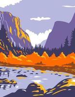 el capitan o el cap durante el otoño en el parque nacional de yosemite sierra nevada de california central wpa poster art vector