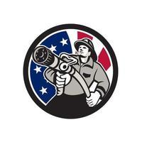 Bombero bombero americano con manguera contra incendios bandera de EE. UU. retro vector