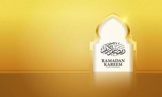 Puerta de la mezquita de Ramadán Kareem con patrón árabe y caligrafía para el fondo de saludo. la caligrafía árabe significa ramadán generoso. vector