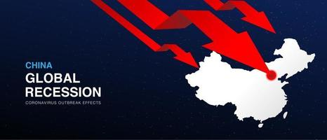China global recession design vector background template with red arrow graph.