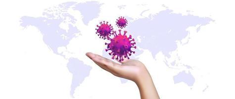 mano realista 3d aislada que sostiene la célula del nuevo coronavirus con el mapa del mundo como fondo. vector