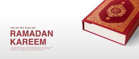 Ramadan Kareem Vector Template with 3D Realistic Quran.