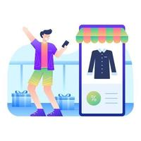 Man happy to find discounted items vector