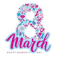 Gretting card with lettering 8 march in blue and pink colors