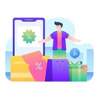 Man shopping for discounted goods vector