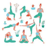 8 women in the yoga poses in color on white background. Trend contemporary poster. Isolated characters.