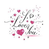 I love you text of valentines day background