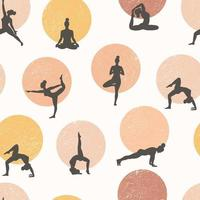 Yoga seamless pattern. Healthy lifestyle. World Health Day. Surface design with yoga class girls meditating and doing exercise. vector