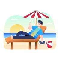 hombre relajado en la playa y bebiendo jugo vector