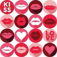 Valentine background pattern with lips. Pop art style backround in pink vector