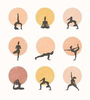Contours of women in the yoga poses on a circle background. Trend contemporary poster.