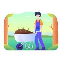 El hombre trae fertilizantes y plantas con carro de arena. vector