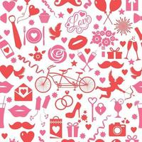 seamless pattern for valentines day with celebtation elements on white