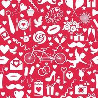 seamless pattern for valentines day with celebtation elements on red vector