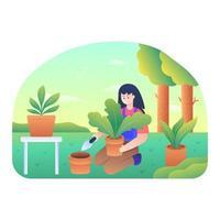 Woman applying fertilizer to plants vector