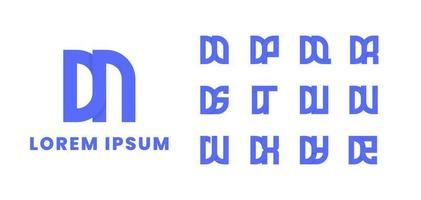 Blue Overlapping Initial Monogram Logo Set vector