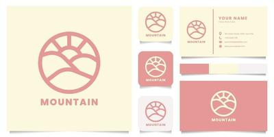 Mountain Logo with Business Card Template vector